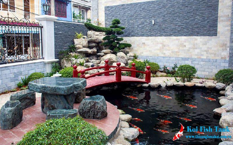 Công trình sân vườn hồ cá koi mini tại huyện Nhà Bè