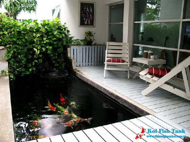 Hồ koi mini trước nhà
