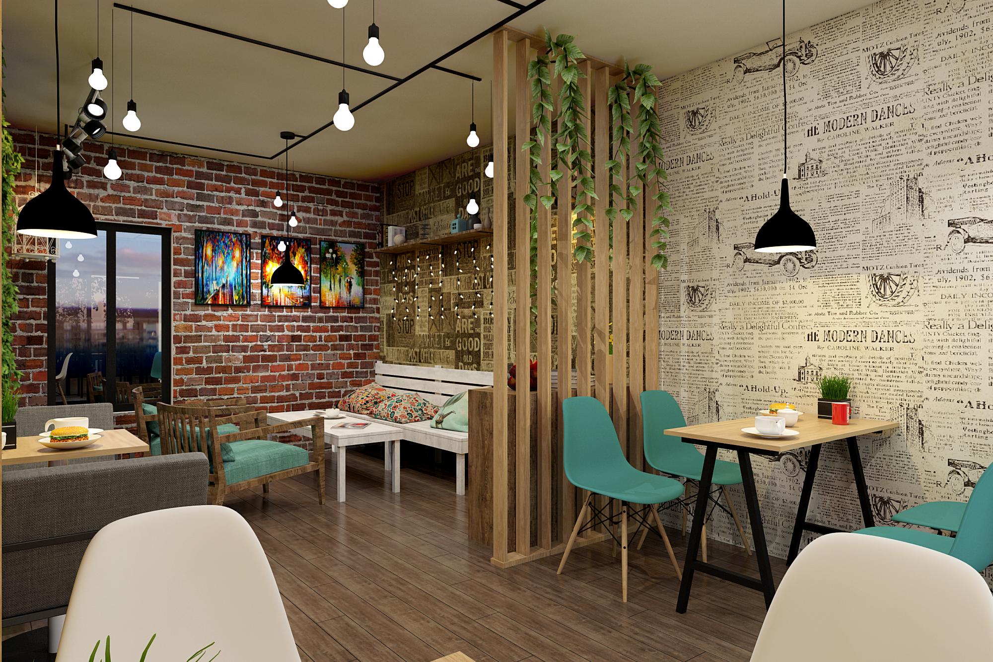 Thiết kế tiệm cà phê trẻ trung
