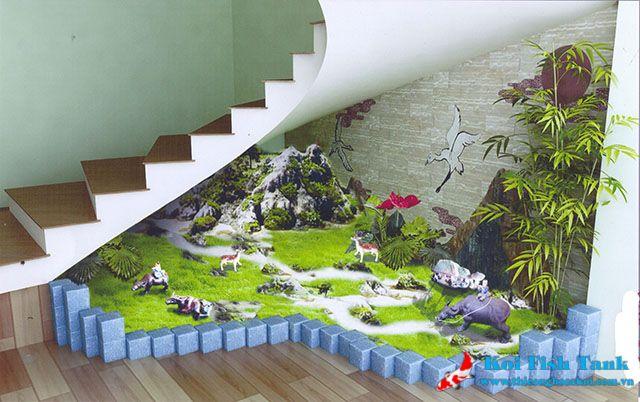 Ý tưởng thiết kế hòn non bộ dưới gầm cầu thang